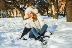 Winter woman laughing in winter park outdoor royalty free stock images