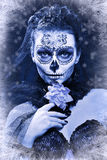 Winter woman make up sugar skull Royalty Free Stock Image