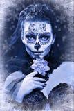 Winter woman make up sugar skull. Beautiful model with ice. Santa Muerte concept royalty free stock image