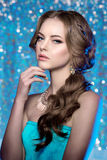 Winter woman model gorgeous beauty makeup stylish hairstyle. You Stock Images