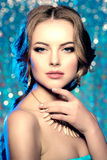 Winter woman model gorgeous beauty makeup stylish hairstyle. You Stock Photography