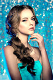 Winter woman model gorgeous beauty makeup stylish hairstyle. You Royalty Free Stock Image