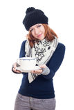Winter woman with mug of tea or coffee Stock Photography