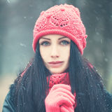 Winter Woman Outdoors Royalty Free Stock Photography