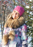 Winter woman in park Royalty Free Stock Images