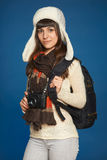 Winter woman with photocamera Stock Image