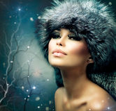 Winter Woman Portrait Stock Photo