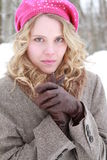 Winter Woman Portrait With Leather Gloves Royalty Free Stock Photo