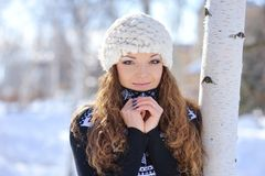 WInter woman portrait outdoor park Stock Images