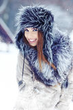 winter woman portrait outdoors Stock Photo