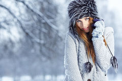 Winter woman portrait outdoors Stock Photo