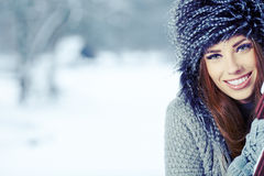 Winter woman portrait outdoors Stock Photography