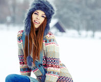 Winter woman portrait outdoors Stock Image