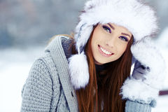Winter woman portrait outdoors Stock Images