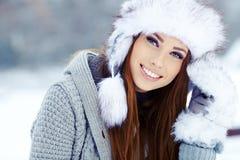 Winter woman portrait outdoors Stock Images