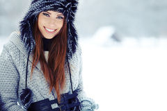 Winter woman portrait outdoors Royalty Free Stock Images