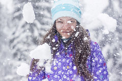 Winter woman portrait snow fall Royalty Free Stock Photography
