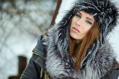 Winter woman portrait Stock Images