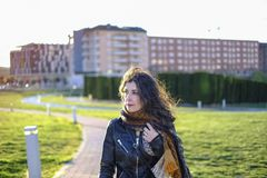 Winter woman portraits walking  in park royalty free stock images