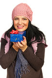Winter woman with present Stock Photo