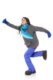 Winter woman running Royalty Free Stock Photos