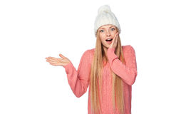 Winter woman showing blank copy space Stock Photography