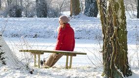 Winter. A woman sitting on a park bench in winter stock video footage