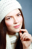 Winter woman smiling Stock Photography