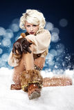 Winter  woman on snow Royalty Free Stock Photo