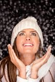 Winter woman with snow Royalty Free Stock Image