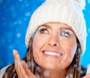 Winter woman with snow Stock Image