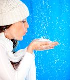 Winter woman with snow Royalty Free Stock Photos