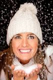 Winter woman with snow Royalty Free Stock Photography