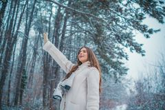 Winter woman snow. Christmas girl outdoor portrait. Winter woman happy. royalty free stock image