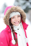 Winter woman in snow outside in nature Stock Photo