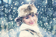 Winter Woman on Snow Winter Royalty Free Stock Image