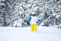 Winter woman with snowboard Royalty Free Stock Photos