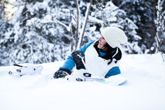 Winter woman with snowboard Stock Image