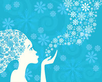 Winter woman and snowflakes Stock Images