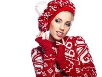 Winter woman in studio Royalty Free Stock Photos