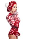 Winter woman in studio Stock Image
