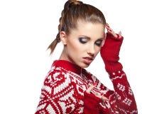 Winter woman in studio Royalty Free Stock Photo