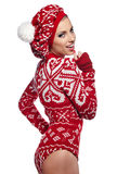 Winter woman in studio Royalty Free Stock Images