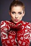 Winter woman in studio Stock Images