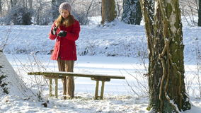Winter. A woman throwing a snowball stock footage