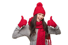Winter woman thumb up Royalty Free Stock Images