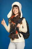 Winter woman  traveler with photocamera Stock Photos