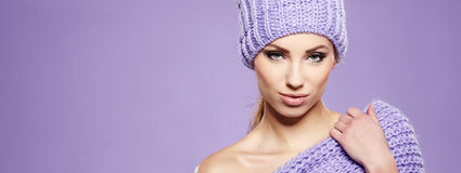 Winter woman in warm clothing Royalty Free Stock Photos