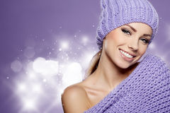 Winter woman in warm clothing Stock Images
