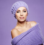 Winter woman in warm clothing Royalty Free Stock Image